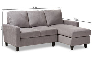 Baxton Studio Greyson Modern And Contemporary Light Grey Fabric Upholstered Reversible Sectional Sofa Image 9