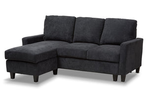 Baxton Studio Greyson Modern And Contemporary Dark Grey Fabric Upholstered Reversible Sectional Sofa Image 4