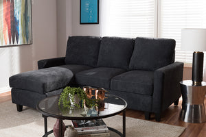 Baxton Studio Greyson Modern And Contemporary Dark Grey Fabric Upholstered Reversible Sectional Sofa Image 5