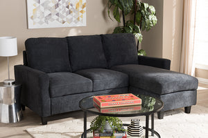 Baxton Studio Greyson Modern And Contemporary Dark Grey Fabric Upholstered Reversible Sectional Sofa Image 6