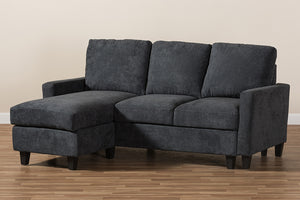 Baxton Studio Greyson Modern And Contemporary Dark Grey Fabric Upholstered Reversible Sectional Sofa Image 7
