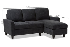 Baxton Studio Greyson Modern And Contemporary Dark Grey Fabric Upholstered Reversible Sectional Sofa Image 9