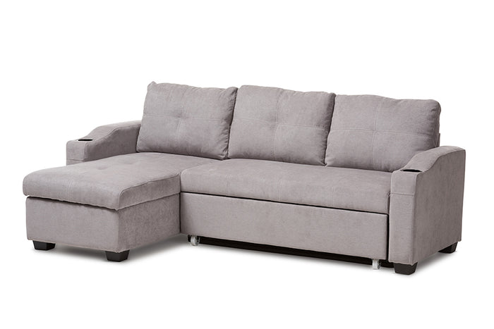 Baxton Studio Lianna Modern and Contemporary Light Grey Fabric Upholstered Sectional Sofa