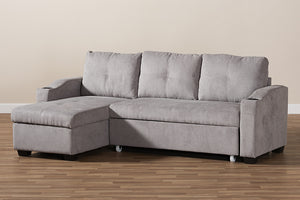 Baxton Studio Lianna Modern and Contemporary Light Grey Fabric Upholstered Sectional Sofa Image 9