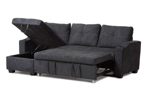Baxton Studio Lianna Modern and Contemporary Dark Grey Fabric Upholstered Sectional Sofa Image 4