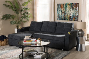 Baxton Studio Lianna Modern and Contemporary Dark Grey Fabric Upholstered Sectional Sofa Image 7