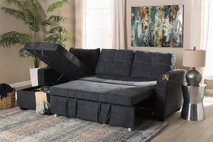 Baxton Studio Lianna Modern and Contemporary Dark Grey Fabric Upholstered Sectional Sofa Image 8