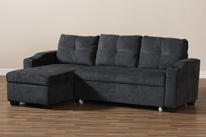 Baxton Studio Lianna Modern and Contemporary Dark Grey Fabric Upholstered Sectional Sofa Image 9
