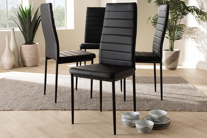 Baxton Studio Armand Modern and Contemporary Black Faux Leather Upholstered Dining Chair Set of 4