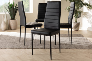 Baxton Studio Armand Modern and Contemporary Black Faux Leather Upholstered Dining Chair Set of 4-Dining Chairs-HipBeds.com
