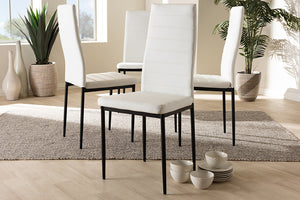 Baxton Studio Armand Modern and Contemporary White Faux Leather Upholstered Dining Chair Set of 4-Dining Chairs-HipBeds.com