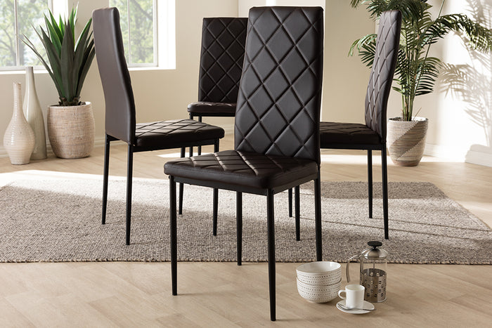 Baxton Studio Blaise Modern and Contemporary Brown Faux Leather Upholstered Dining Chair Set of 4