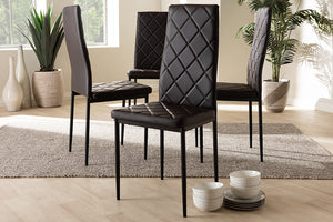 Baxton Studio Blaise Modern and Contemporary Brown Faux Leather Upholstered Dining Chair Set of 4-Dining Chairs-HipBeds.com