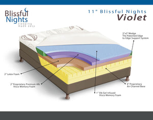 Blissful Nights Violet 11 in. Gel Memory Foam & Latex Mattress - 11GVLVIOLET-Mattresses-HipBeds.com