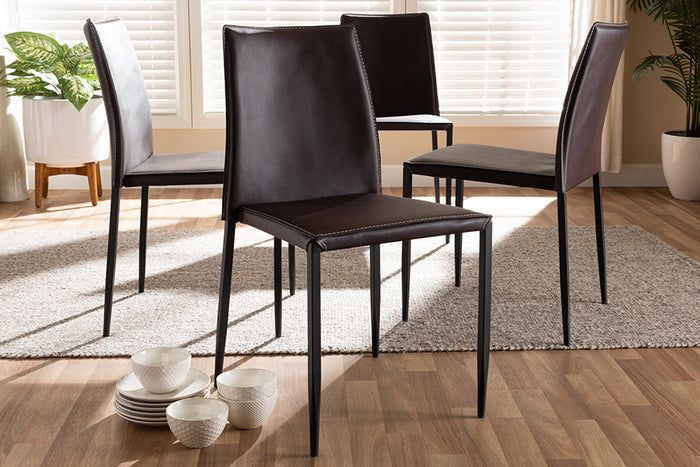 Baxton Studio Pascha Modern and Contemporary Brown Faux Leather Upholstered Dining Chair Set of 4