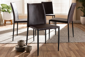 Baxton Studio Pascha Modern and Contemporary Brown Faux Leather Upholstered Dining Chair Set of 4-Dining Chairs-HipBeds.com