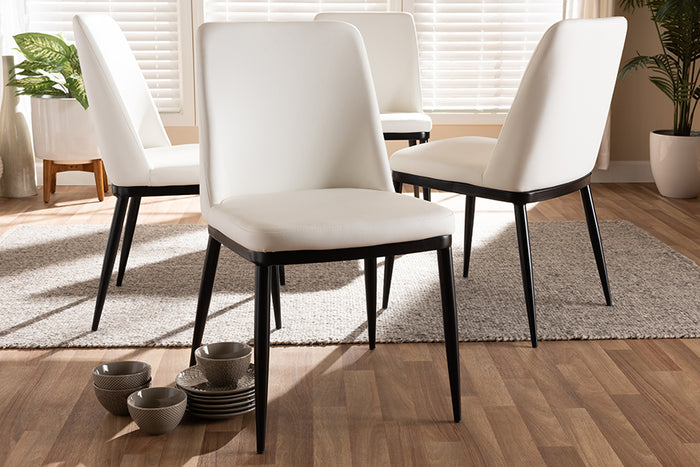Baxton Studio Darcell Modern and Contemporary White Faux Leather Upholstered Dining Chair Set of 4