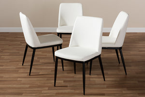Baxton Studio Darcell Modern and Contemporary White Faux Leather Upholstered Dining Chair Set of 4-Dining Chairs-HipBeds.com