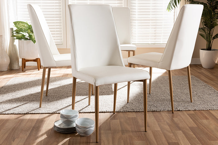 Baxton Studio Chandelle Modern and Contemporary White Faux Leather Upholstered Dining Chair Set of 4
