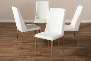 Baxton Studio Chandelle Modern and Contemporary White Faux Leather Upholstered Dining Chair Set of 4-Dining Chairs-HipBeds.com