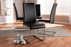 Baxton Studio Cyprien Modern and Contemporary Black Faux Leather Upholstered Dining Chair Set of 4-Dining Chairs-HipBeds.com