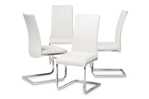 Baxton Studio Cyprien Modern and Contemporary White Faux Leather Upholstered Dining Chair Set of 4-Dining Chairs-HipBeds.com