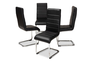 Baxton Studio Marlys Modern and Contemporary Black Faux Leather Upholstered Dining Chair Set of 4-Dining Chairs-HipBeds.com