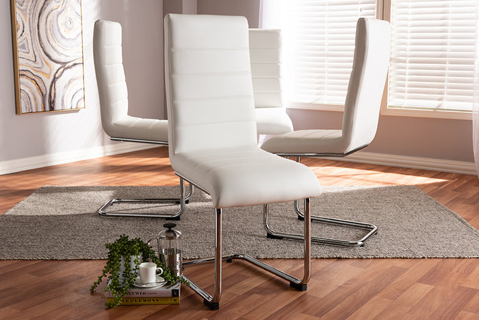 Baxton Studio Marlys Modern and Contemporary White Faux Leather Upholstered Dining Chair Set of 4
