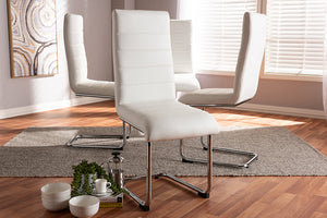 Baxton Studio Marlys Modern and Contemporary White Faux Leather Upholstered Dining Chair Set of 4-Dining Chairs-HipBeds.com