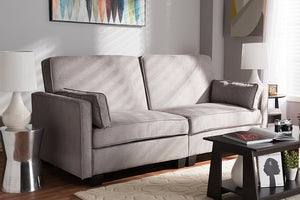 Baxton Studio Felicity Modern and Contemporary Light Gray Fabric Upholstered Sleeper Sofa-Sofas & Loveseats-HipBeds.com
