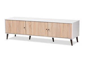 Baxton Studio Bastien Mid-Century Modern White and Light Oak 6-Shelf TV Stand Image 5