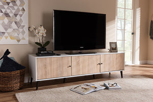 Baxton Studio Bastien Mid-Century Modern White and Light Oak 6-Shelf TV Stand Image 3