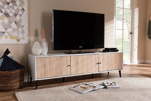 Baxton Studio Bastien Mid-Century Modern White and Light Oak 6-Shelf TV Stand Image 4