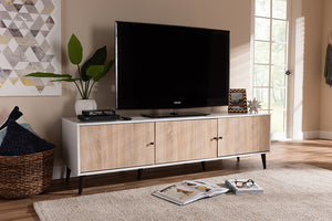 Baxton Studio Bastien Mid-Century Modern White and Light Oak 6-Shelf TV Stand Image 11