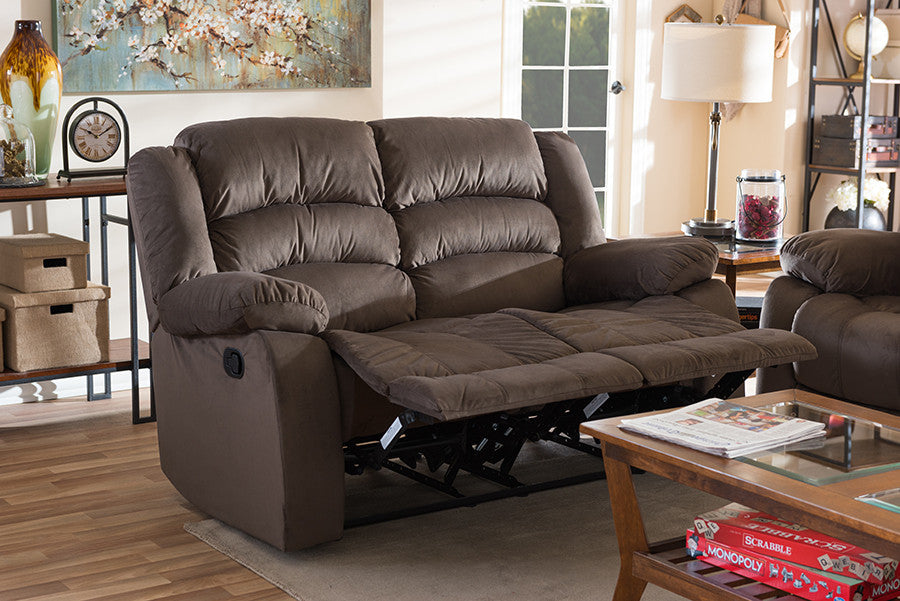 Baxton Studio Hollace Taupe Microsuede 2-Seater Recliner