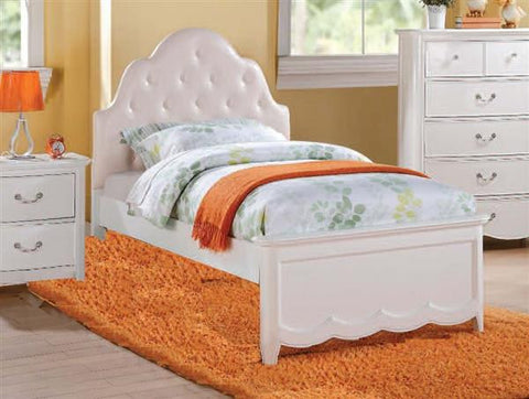 ACME Cecilie Twin Bed (Padded HB) Light Pink PU & White - 30300T-Panel Beds-HipBeds.com