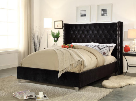 Meridian Aiden Black Velvet Queen Bed - Aidenblack-Q-Panel Beds-HipBeds.com
