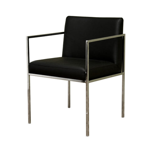 Baxton Studio Atalo Black Leather Chair-Chairs-HipBeds.com