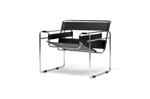 Baxton Studio Jericho Black Leather Mid-Century Modern Accent Chair-Chairs-HipBeds.com