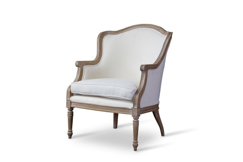 Baxton Studio Charlemagne Traditional French Accent Chair—Oak