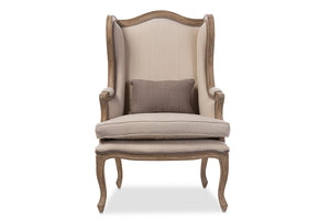 Baxton Studio Oreille French Provincial Style White Wash Distressed Two-tone Beige Upholstered Armchair-Chairs-HipBeds.com