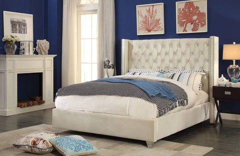 Meridian Aiden Cream Velvet Queen Bed - Aidencream-Q-Panel Beds-HipBeds.com