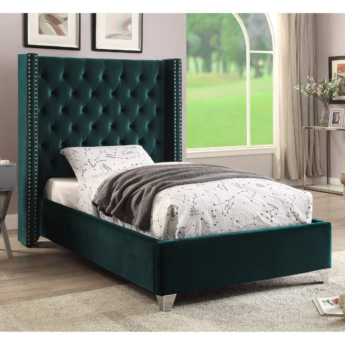 Meridian Aiden Green Velvet Twin Bed - Aidengreen-T