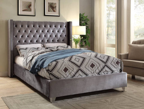 Meridian Aiden Grey Velvet Queen Bed - Aidengrey-Q-Panel Beds-HipBeds.com