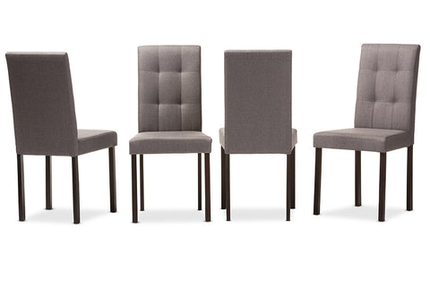 Baxton Studio Andrew Modern and Contemporary Grey Fabric Upholstered Grid-tufting Dining Chair - Set of 4