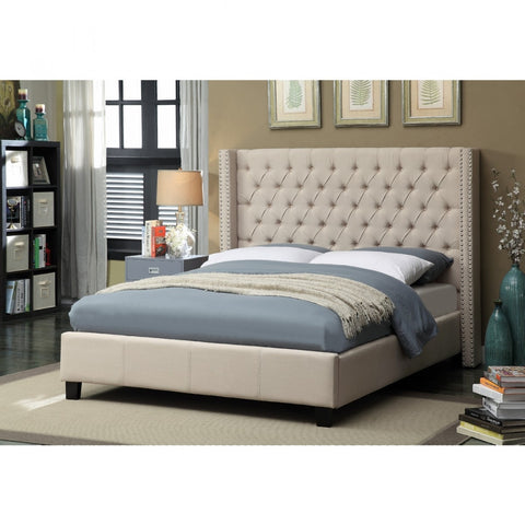 Meridian Ashton Beige Linen King Bed - Ashtonbeige-K-Panel Beds-HipBeds.com