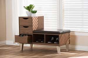 Baxton Studio Arielle Modern and Contemporary Walnut Brown Wood 3-Drawer Shoe Storage Padded Leatherette Seating Bench with Two Open Shelves