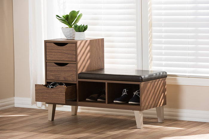 Baxton Studio Arielle Walnut Brown Shoe Storage Bench