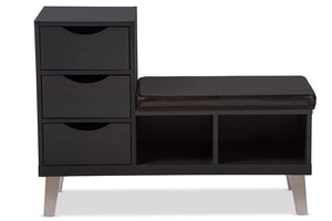 Baxton Studio Arielle Modern and Contemporary Dark Brown Wood 3-drawer Shoe Storage Padded Leatherette Seating Bench with Two Open Shelves-Benches-HipBeds.com