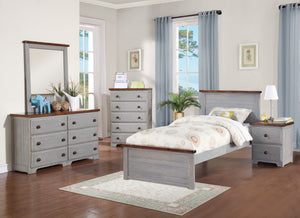 Donco Kids Twin Panel Bed Washed Denim B0313TWD-Panel Beds-HipBeds.com